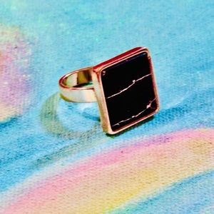 Square gold tone marble ring